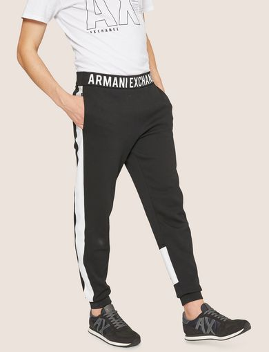 아르마니 익스체인지 Armani Exchange LOGO PRINT SIDE-STRIPE SWEATPANT,Black