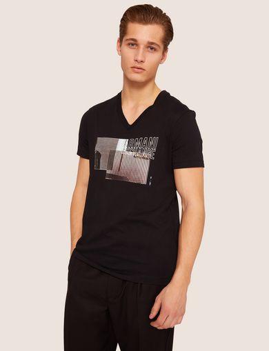 아르마니 익스체인지 Armani Exchange SLIM-FIT DOUBLE LINE PHOTO V-NECK,Black