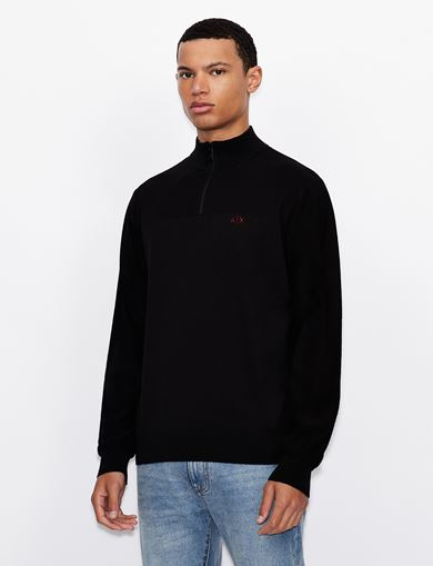 아르마니 익스체인지 Armani Exchange MOCKNECK QUARTER-ZIP LOGO SWEATER,Black
