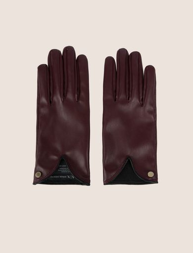 아르마니 익스체인지 Armani Exchange CUTOUT DETAIL FAUX-LEATHER GLOVES,Wine