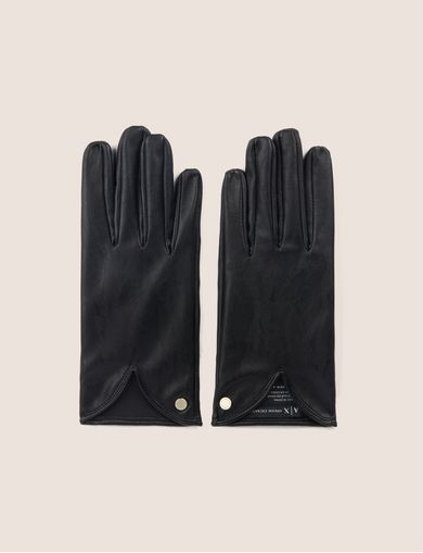 아르마니 익스체인지 Armani Exchange CUTOUT DETAIL FAUX-LEATHER GLOVES,Black
