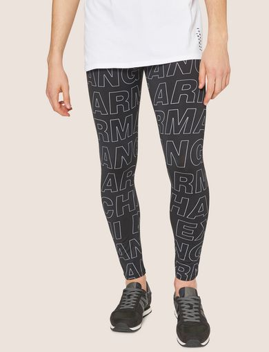 아르마니 익스체인지 Armani Exchange ALLOVER LOGO PRINT LEGGING,Black