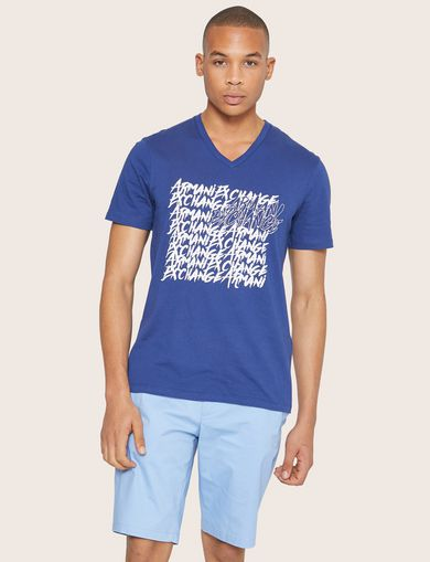 아르마니 익스체인지 Armani Exchange REPEATED GRAFFITI LOGO V-NECK,Blue