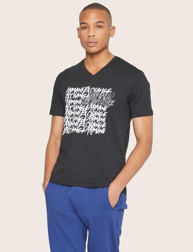 아르마니 익스체인지 Armani Exchange REPEATED GRAFFITI LOGO V-NECK,Black