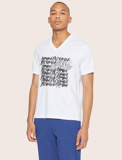 아르마니 익스체인지 Armani Exchange REPEATED GRAFFITI LOGO V-NECK,White