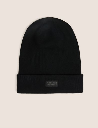 아르마니 익스체인지 Armani Exchange CLASSIC LOGO PATCH BEANIE,Black