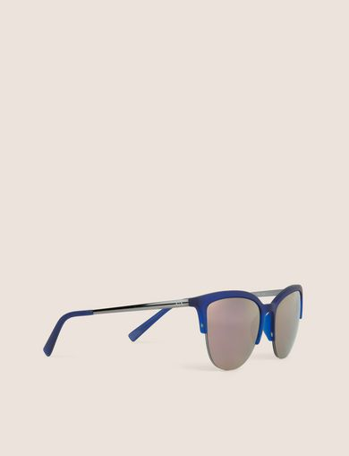 아르마니 익스체인지 Armani Exchange PINK MIRRORED LENS HALF-FRAME CAT EYE,Blue