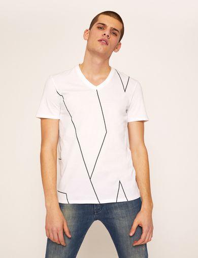 아르마니 익스체인지 Armani Exchange REGULAR-FIT LARGE PRINT LOGO V-NECK,White