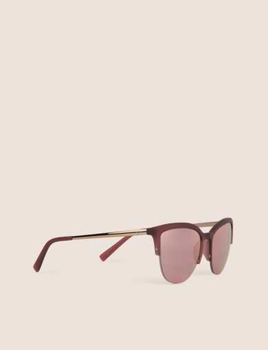 아르마니 익스체인지 Armani Exchange BURGUNDY MIRRORED LENS HALF-FRAME CAT EYE,Bright Pink