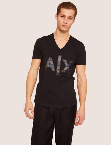 아르마니 익스체인지 Armani Exchange SLIM-FIT METALLIC MESH BLOCK V-NECK,Black