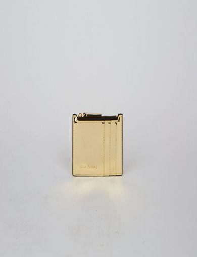 아르마니 익스체인지 Armani Exchange HIGH-SHINE METALLIC TOP-ZIP CARDCASE,Gold