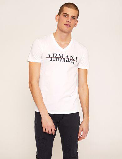 아르마니 익스체인지 Armani Exchange SLIM-FIT REVERSE REFLECT LOGO V-NECK,White