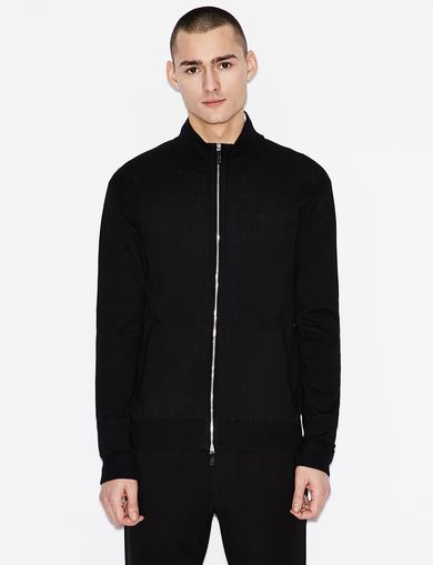 아르마니 익스체인지 캐시미어 블렌드 스웨터 자켓 Armani Exchange CLASSIC CASHMERE-BLEND SWEATER JACKET,Black