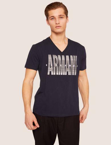 아르마니 익스체인지 Armani Exchange REGULAR-FIT STATIC LOGO V-NECK,Navy Blue