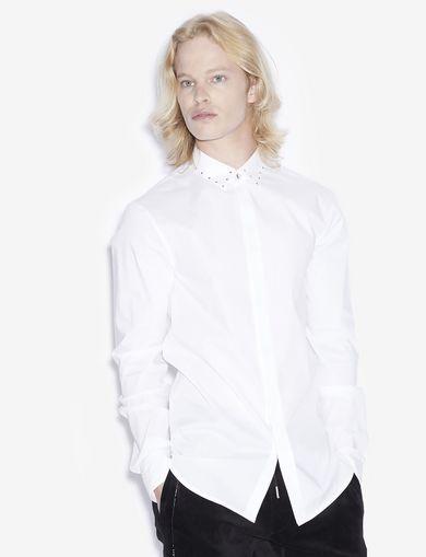 아르마니 익스체인지 Armani Exchange SLIM-FIT STUDDED COLLAR SHIRT,White