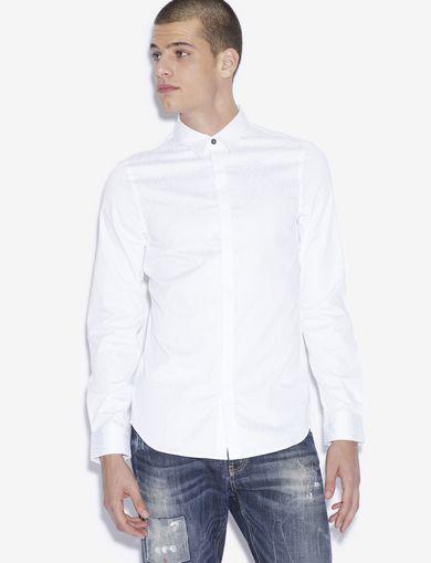 아르마니 익스체인지 Armani Exchange SLIM-FIT GEO LINES BUTTON-DOWN SHIRT,White
