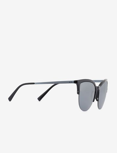아르마니 익스체인지 Armani Exchange BICOLOR HALF-FRAME CAT-EYE SUNGLASSES,Light Grey