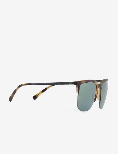 아르마니 익스체인지 선글라스 Armani Exchange TORTOISE-EFFECT HALF-FRAME SUNGLASSES,Green