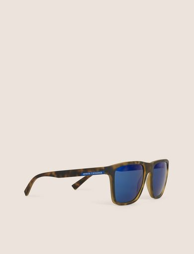 아르마니 익스체인지 선글라스 Armani Exchange BLUE MIRRORED TORTOISE CLASSIC SUNGLASSES,Blue