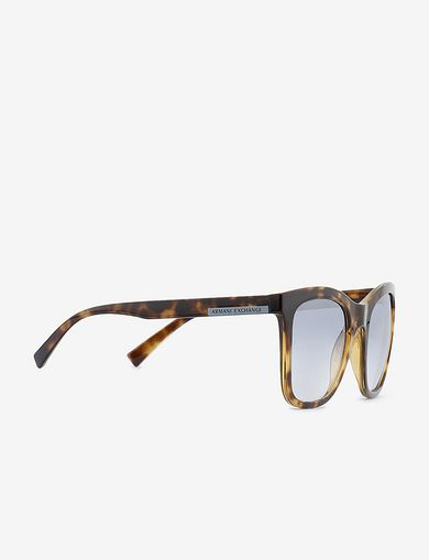 아르마니 익스체인지 Armani Exchange TORTOISE-EFFECT BLUE LENS CLASSIC SUNGLASSES,Brown