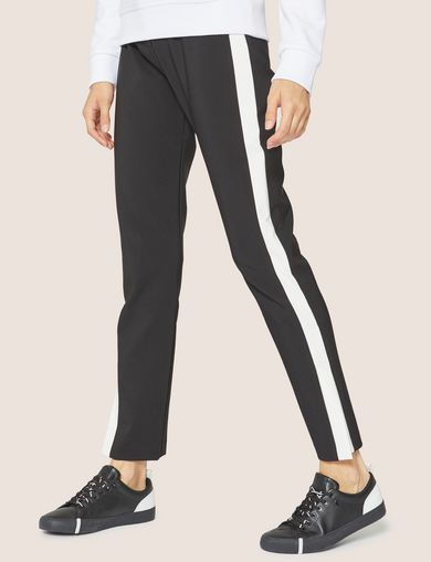 아르마니 익스체인지 Armani Exchange SIDE-STRIPE SPLIT-SEAM PANT,Black