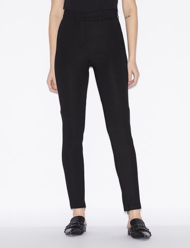 아르마니 익스체인지 Armani Exchange HIGH-WAISTED TROUSERS,Black