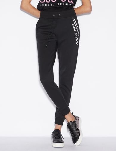 아르마니 익스체인지 Armani Exchange SPORTY TROUSERS WITH CONTRASTING LETTERING,Black