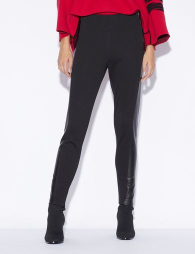 아르마니 익스체인지 Armani Exchange CONTRASTING LEGGINGS WITH SIDE STRIPE,Black