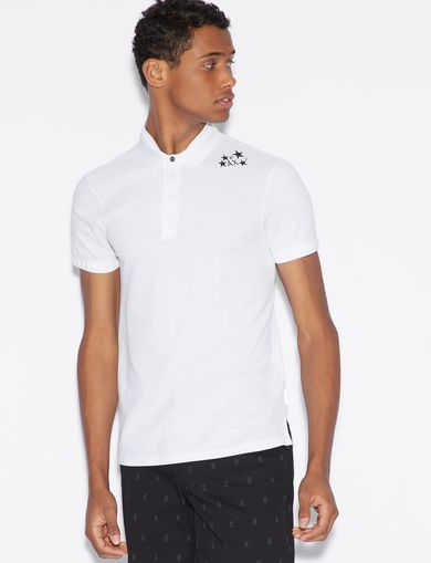 아르마니 익스체인지 Armani Exchange POLO SHIRT WITH DESIGN ON SHOULDER,White