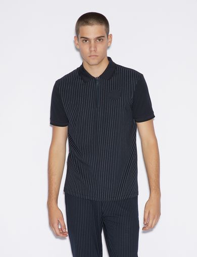 아르마니 익스체인지 Armani Exchange PINSTRIPED POLO SHIRT,Navy Blue