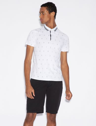 아르마니 익스체인지 Armani Exchange SLIM FIT PATTERN POLO SHIRT,White