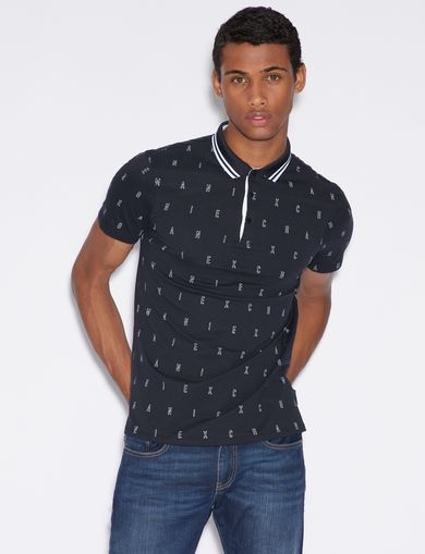 아르마니 익스체인지 Armani Exchange SLIM FIT PATTERNED POLO SHIRT,Navy Blue