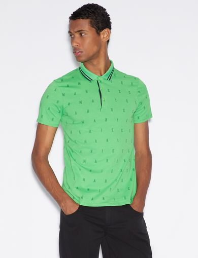 아르마니 익스체인지 Armani Exchange SLIM FIT PATTERNED POLO SHIRT,Green