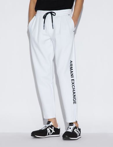 아르마니 익스체인지 Armani Exchange SPORTY TROUSERS WITH CONTRASTING LETTERING AND DETAILS,White