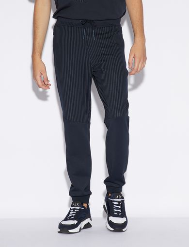 아르마니 익스체인지 Armani Exchange SPORTY TROUSERS WITH PINSTRIPED INSERT,Navy Blue