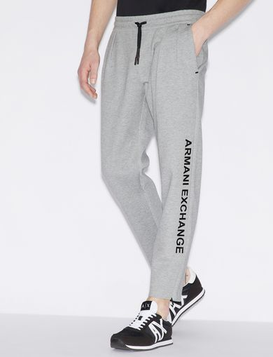 아르마니 익스체인지 Armani Exchange SPORTY TROUSERS WITH CONTRASTING LETTERING AND DETAILS,Grey