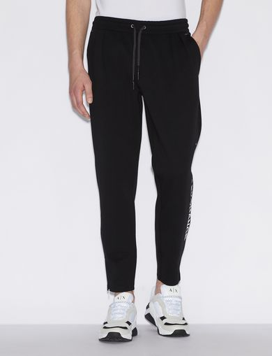아르마니 익스체인지 Armani Exchange SPORTY TROUSERS WITH CONTRASTING LETTERING AND DETAILS,Black