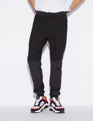 아르마니 익스체인지 Armani Exchange SPORTY TROUSERS WITH PINSTRIPED INSERT,Black