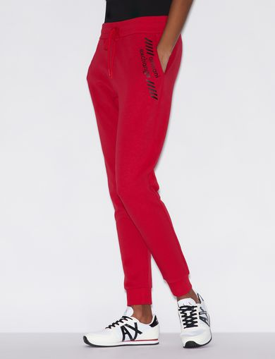 아르마니 익스체인지 Armani Exchange SPORTY TROUSERS WITH CONTRASTING LETTERING,Red