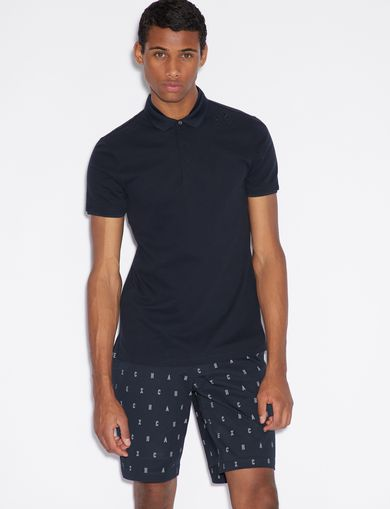 아르마니 익스체인지 Armani Exchange POLO SHIRT WITH DESIGN ON SHOULDER,Midnight Blue