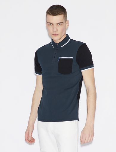 아르마니 익스체인지 Armani Exchange POLO SHIRT IN COTTON,Navy Blue