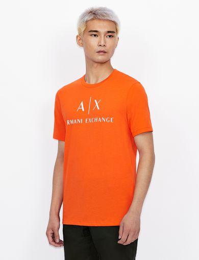 아르마니 익스체인지 Armani Exchange T-SHIRT WITH CONTRAST LETTERING AND LOGO,Orange