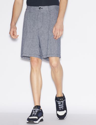 아르마니 익스체인지 Armani Exchange BERMUDA SHORTS IN MIXED LINEN,Navy Blue