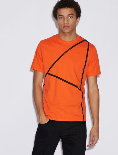 아르마니 익스체인지 Armani Exchange T-SHIRT WITH PRINT,Orange