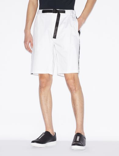 아르마니 익스체인지 Armani Exchange BERMUDA SHORTS WITH WAIST STRAP,White