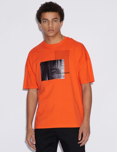 아르마니 익스체인지 Armani Exchange T-SHIRT WITH PHOTOGRAPHIC PRINT,Orange