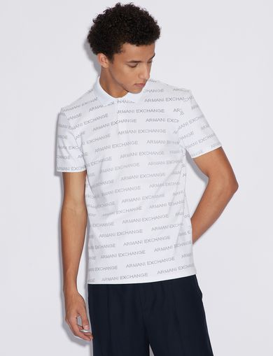 아르마니 익스체인지 Armani Exchange POLO SHIRT WITH LOGO LETTERING,White