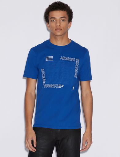 아르마니 익스체인지 Armani Exchange T-SHIRT WITH PRINT,MARINE