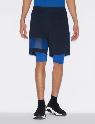 아르마니 익스체인지 Armani Exchange BERMUDA SHORTS WITH INCORPORATED LEGGINGS,Navy Blue
