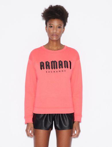 아르마니 익스체인지 Armani Exchange SWEATSHIRT WITH LOGO LETTERING,Bright Pink